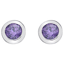 Buy Hot Diamonds Round Cubic Zirconia and Diamond Stud Earrings, Purple Online at johnlewis.com