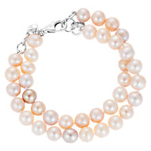 Buy Claudia Bradby Freshwater Pearl Double Row Bracelet, Pink Mix Online at johnlewis.com