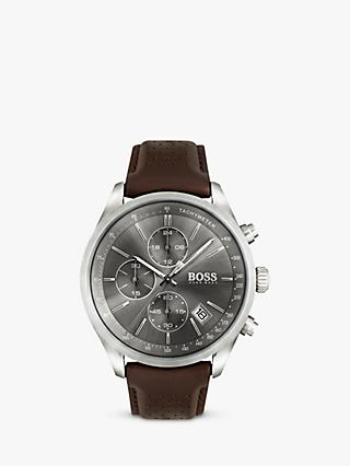 HUGO BOSS 1513476 Men's Grand Prix Chronograph Date Leather Strap Watch, Dark Brown/Grey