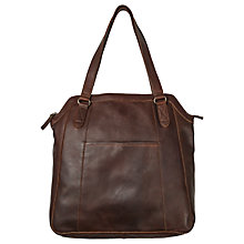Buy Fat Face Tilly Oiled Leather Tote Bag, Chocolate Online at johnlewis.com