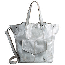 Buy Pieces Vanity Leather Tote Bag, Silver Online at johnlewis.com
