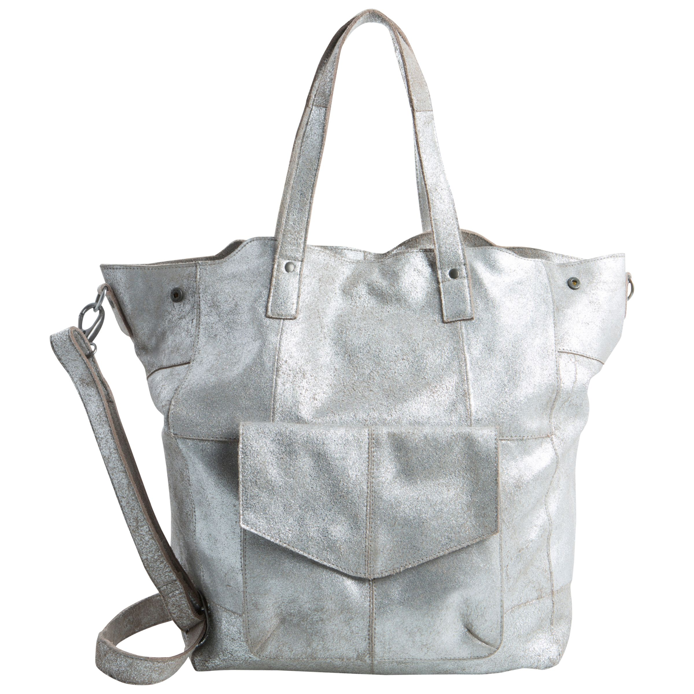 Pieces Pieces Vanity Leather Tote Bag, Silver