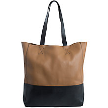 Buy Pieces Luxe Leather Shopper Bag, Cognac / Black Online at johnlewis.com