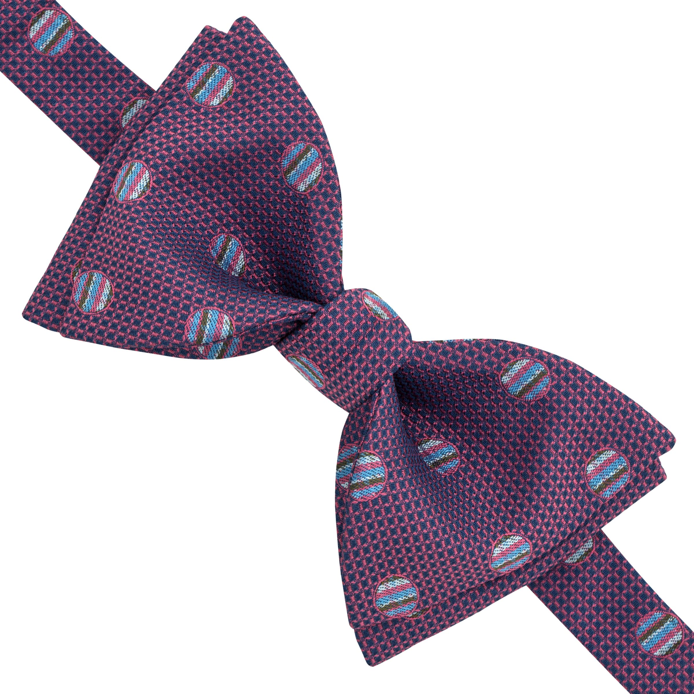 Thomas Pink Thomas Pink Docharty Self Tie Silk Bow Tie, Pink/Blue