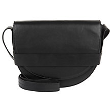 Buy Jaeger Leather Large Saddle Bag, Black Online at johnlewis.com