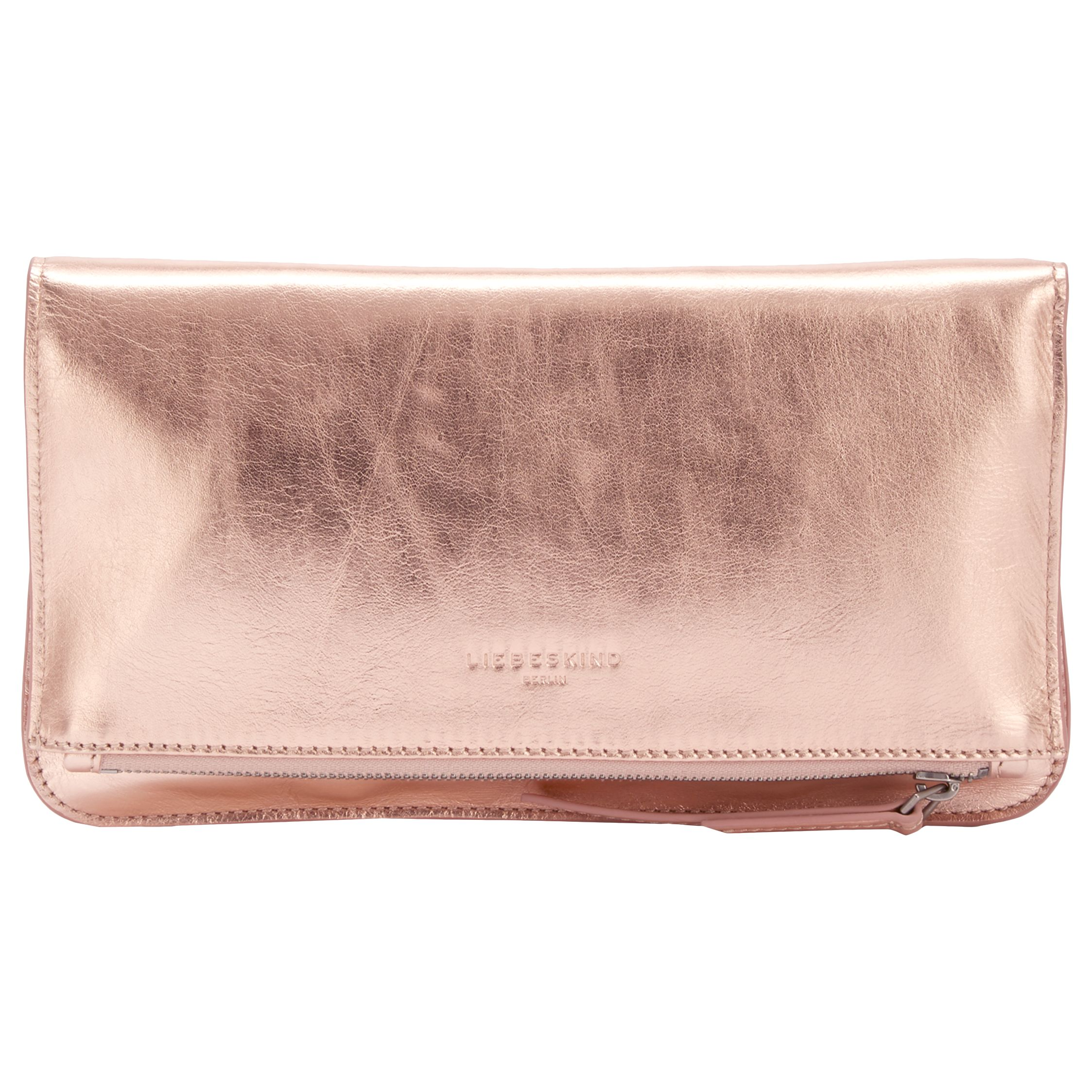 Liebeskind Liebeskind Aloe F7 Leather Clutch Bag, Rose Gold