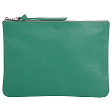 Buy Jaeger Icon Leather Zip Pouch Purse, Green Online at johnlewis.com