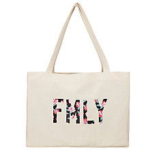Buy Selfish Mother Large Floral FMLY Tote Bag, Natural Online at johnlewis.com