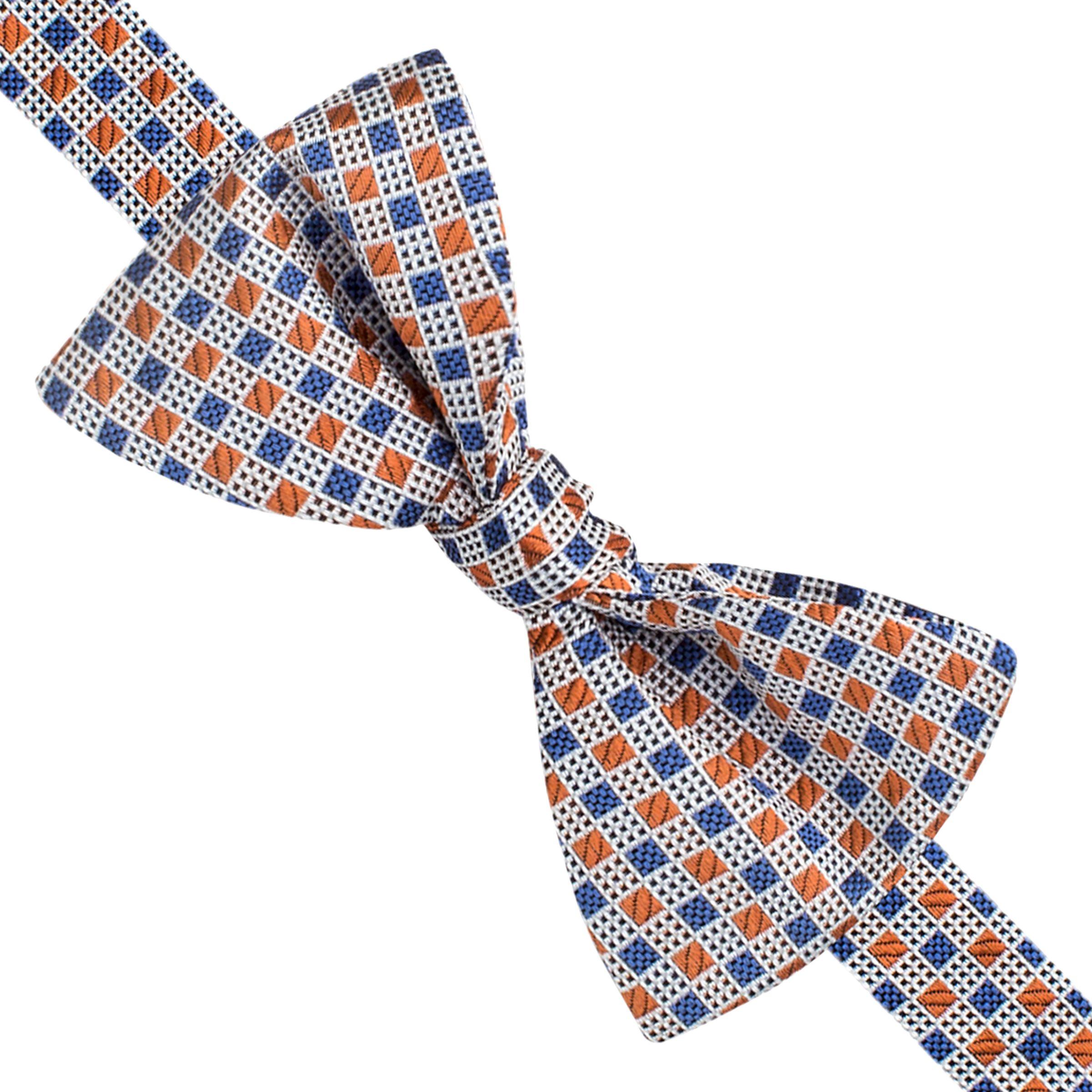 Thomas Pink Thomas Pink Pasmore Square Geo Self Tie Silk Bow Tie, Blue/Orange
