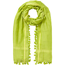 Buy East Silk Cotton Pom Pom Scarf, Kiwi Online at johnlewis.com