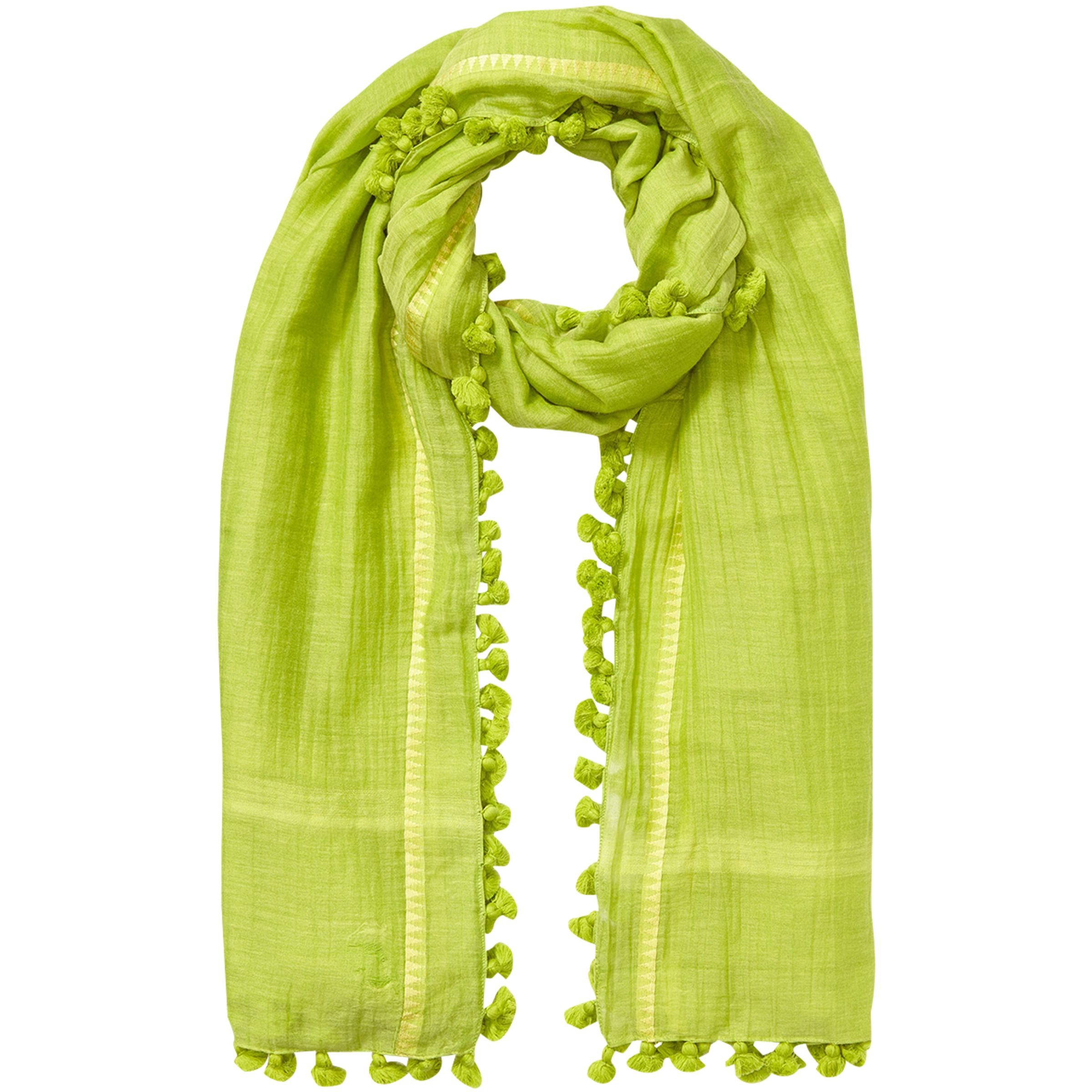 East East Silk Cotton Pom Pom Scarf, Kiwi