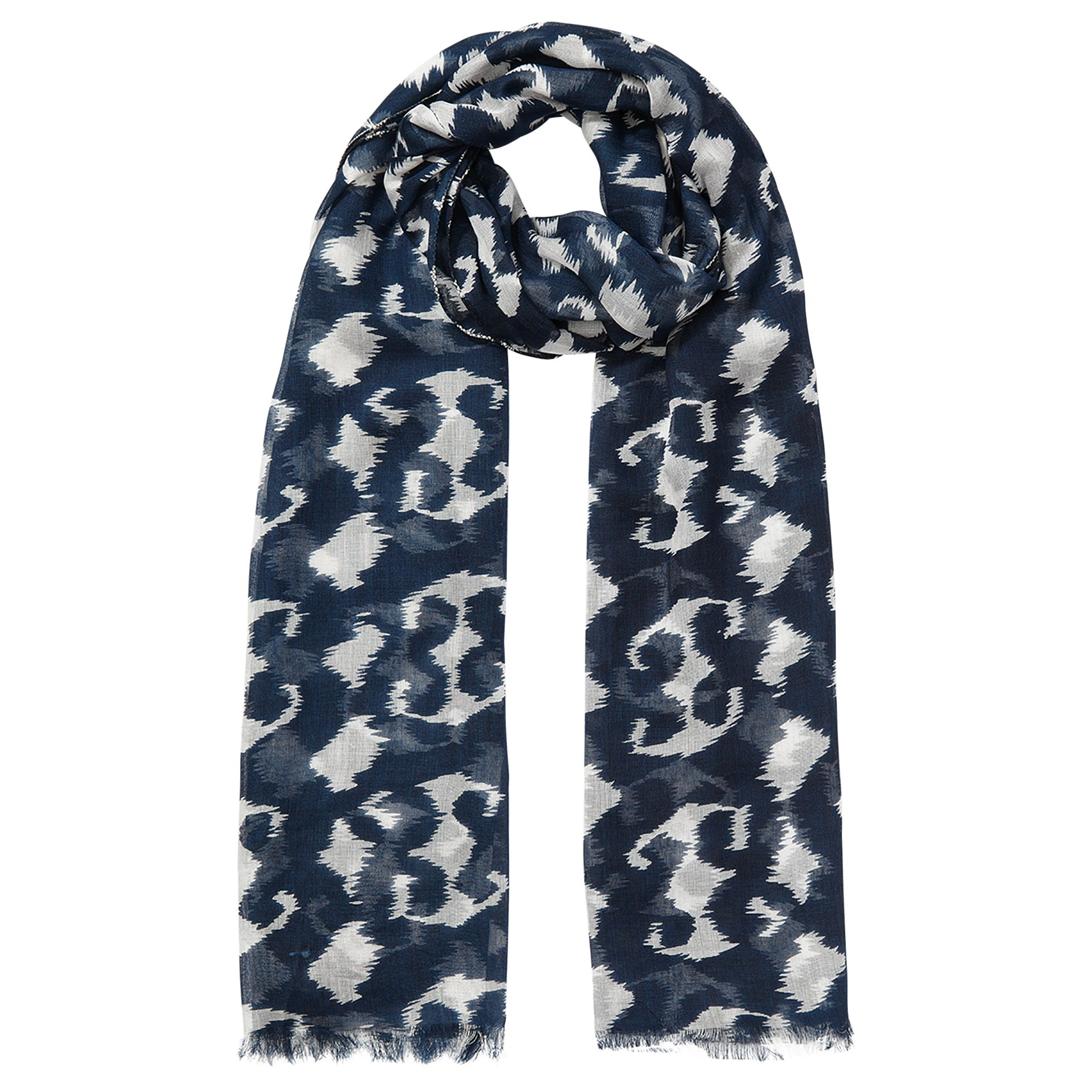 East East Smudged Animal Print Scarf, Navy