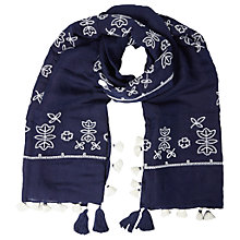 Buy White Stuff Japanese Cross Stitch Scarf, Ink Pot Blue Online at johnlewis.com