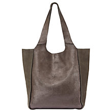 Buy Mint Velvet Erin Metallic Slouchy Shopper, Khaki Online at johnlewis.com