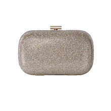 Buy Karen Millen Glitter Box Clutch Bag, Gold Online at johnlewis.com