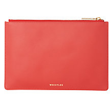 Buy Whistles Matte Leather Small Clutch Bag, Red Online at johnlewis.com