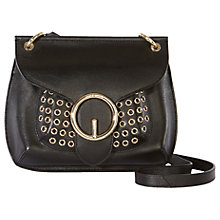 Buy Karen Millen Leather Studded Saddle Bag, Black Online at johnlewis.com