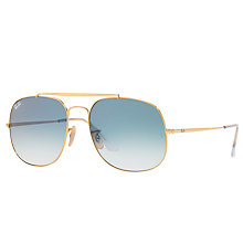Buy Ray-Ban RB3561 The General Square Sunglasses, Gold/Blue Gradient Online at johnlewis.com