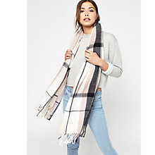 Buy Miss Selfridge Large Check Scarf, Pink Online at johnlewis.com