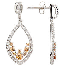 Buy Ivory & Co. Cubic Zirconia Teardrop Drop Earrings, Silver/Blush Online at johnlewis.com