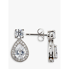 Buy Ivory & Co. Teardrop Cubic Zirconia Pave Drop Earrings, Silver Online at johnlewis.com