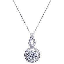 Buy Ivory & Co. Round Cubic Zirconia Pave Drop Pendant Necklace, Silver Online at johnlewis.com