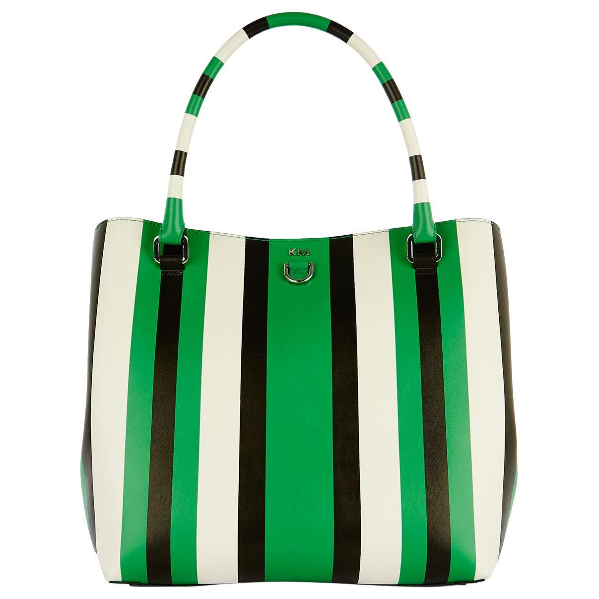 Karen Millen Karen Millen Stripe Bucket Bag, Green/Multi