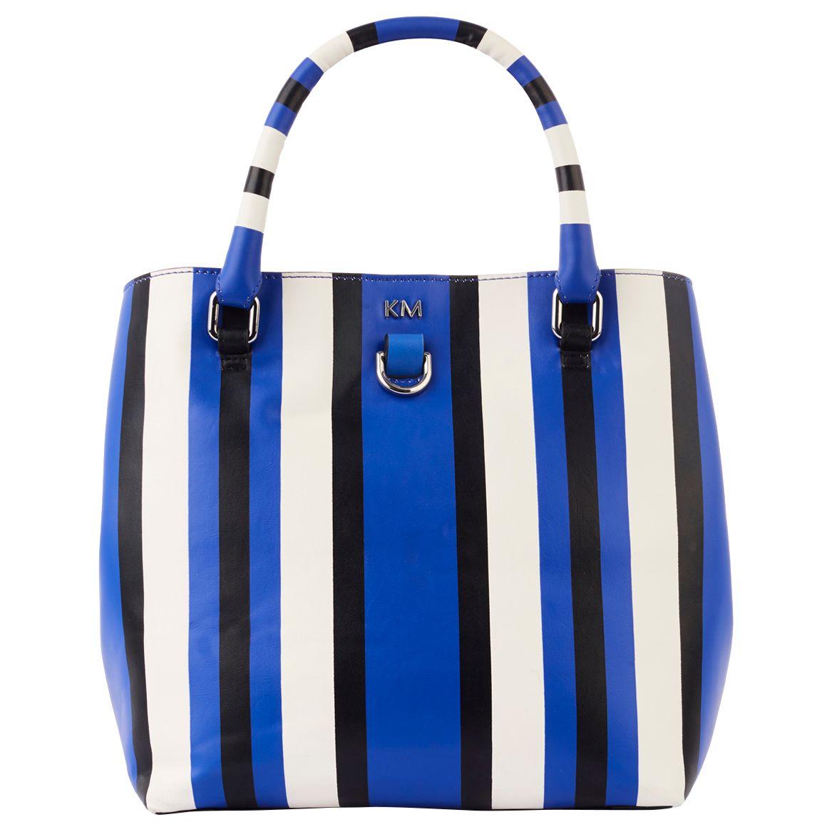 Karen Millen Karen Millen Stripe Mini Bucket Bag, Blue/Multi