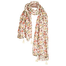 Buy Fat Face Batik Floral Tassel Trim Scarf, Ivory/Multi Online at johnlewis.com