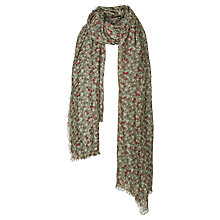 Buy Fat Face Falling Ditsy Print Scarf, Khaki/Red Online at johnlewis.com