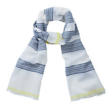 Buy Pure Collection Textured Stripe Scarf, Blue / Lime Online at johnlewis.com