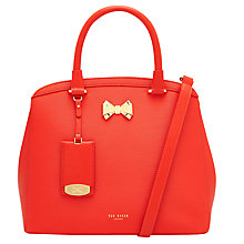Buy Ted Baker Tealia Curved Bow Small Leather Tote Bag, Bright Orange Online at johnlewis.com