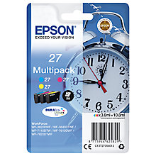 Buy Epson Alarm Clock T2705 Colour Inkjet Printer Cartridge Multipack, Pack of 3 Online at johnlewis.com