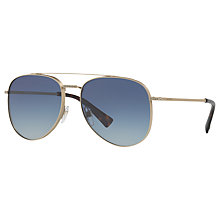 Buy Valentino VA2007B Crystal Detail Aviator Sunglasses, Gold/Blue Gradient Online at johnlewis.com