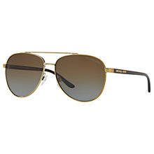 Buy Michael Kors MK5007 Hvar I Polarised Aviator Sunglasses, Gold/Dark Brown Gradient Online at johnlewis.com
