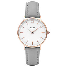 Buy CLUSE Women's Minuit Rose Gold Leather Strap Watch Online at johnlewis.com