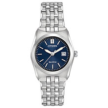Buy Citizen EW2290-54L Women's Date Bracelet Strap Watch, Silver/Navy Online at johnlewis.com