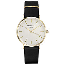 Buy ROSEFIELD WBLG-W71 Women's The West Village Leather Strap Watch, Black/White Online at johnlewis.com