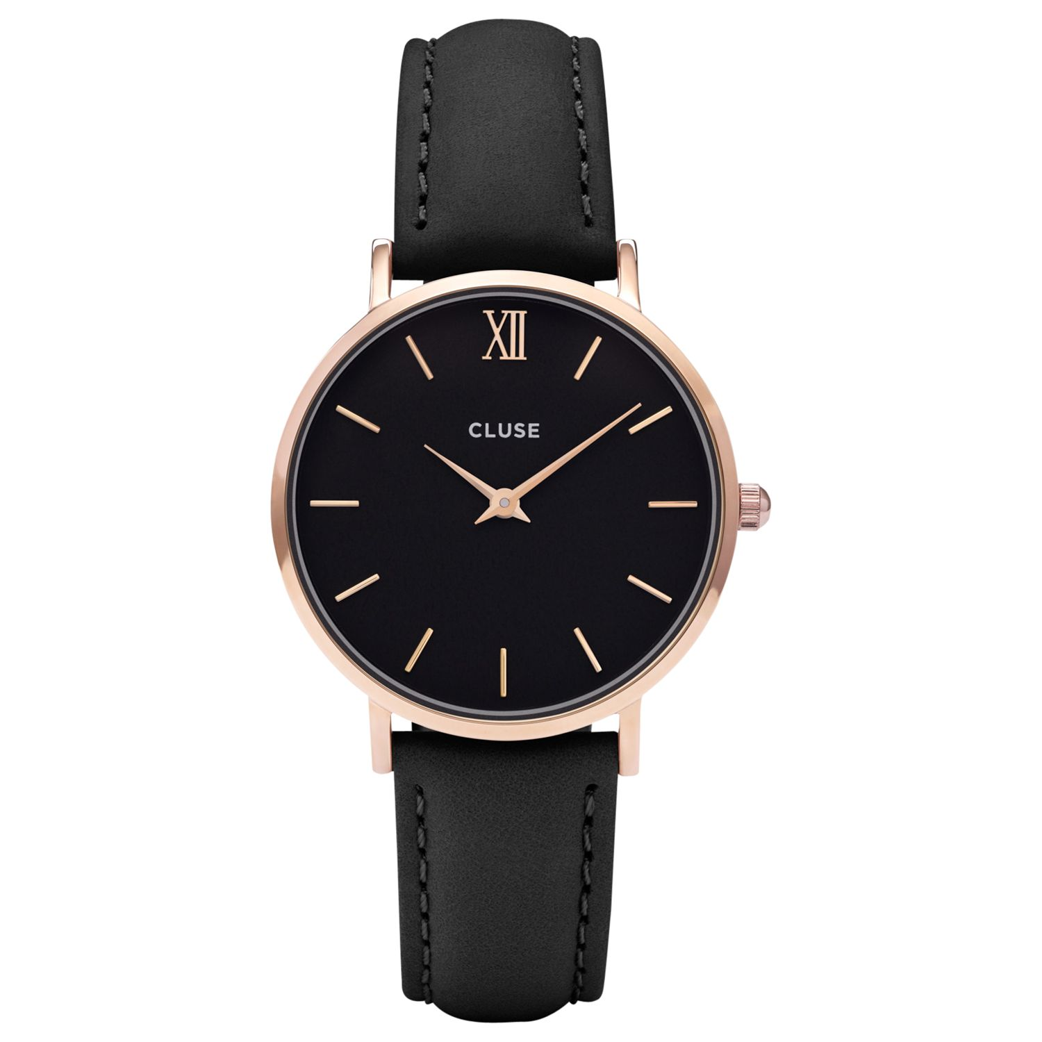 Cluse CLUSE CL30022 Women's Minuit Rose Gold Leather Strap Watch, Black