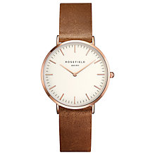 Buy ROSEFIELD TWBRR-T55 Women's The Tribeca Leather Strap Watch, Tan/White Online at johnlewis.com