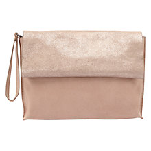 Buy Mint Velvet Gemma Suede Foldover Clutch Bag, Light Pink Online at johnlewis.com