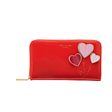 Buy Ted Baker Tilda Heart Applique Leather Matinee Purse, Bright Orange Online at johnlewis.com