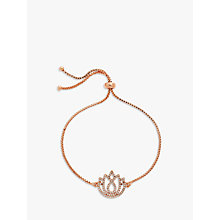 Buy Melissa Odabash Crystal Lotus Charm Box Chain Bracelet, Rose Gold Online at johnlewis.com