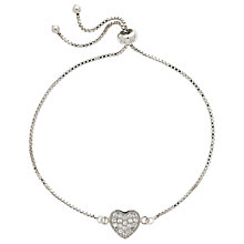 Buy Melissa Odabash Crystal Heart Box Chain Bracelet, Silver Online at johnlewis.com