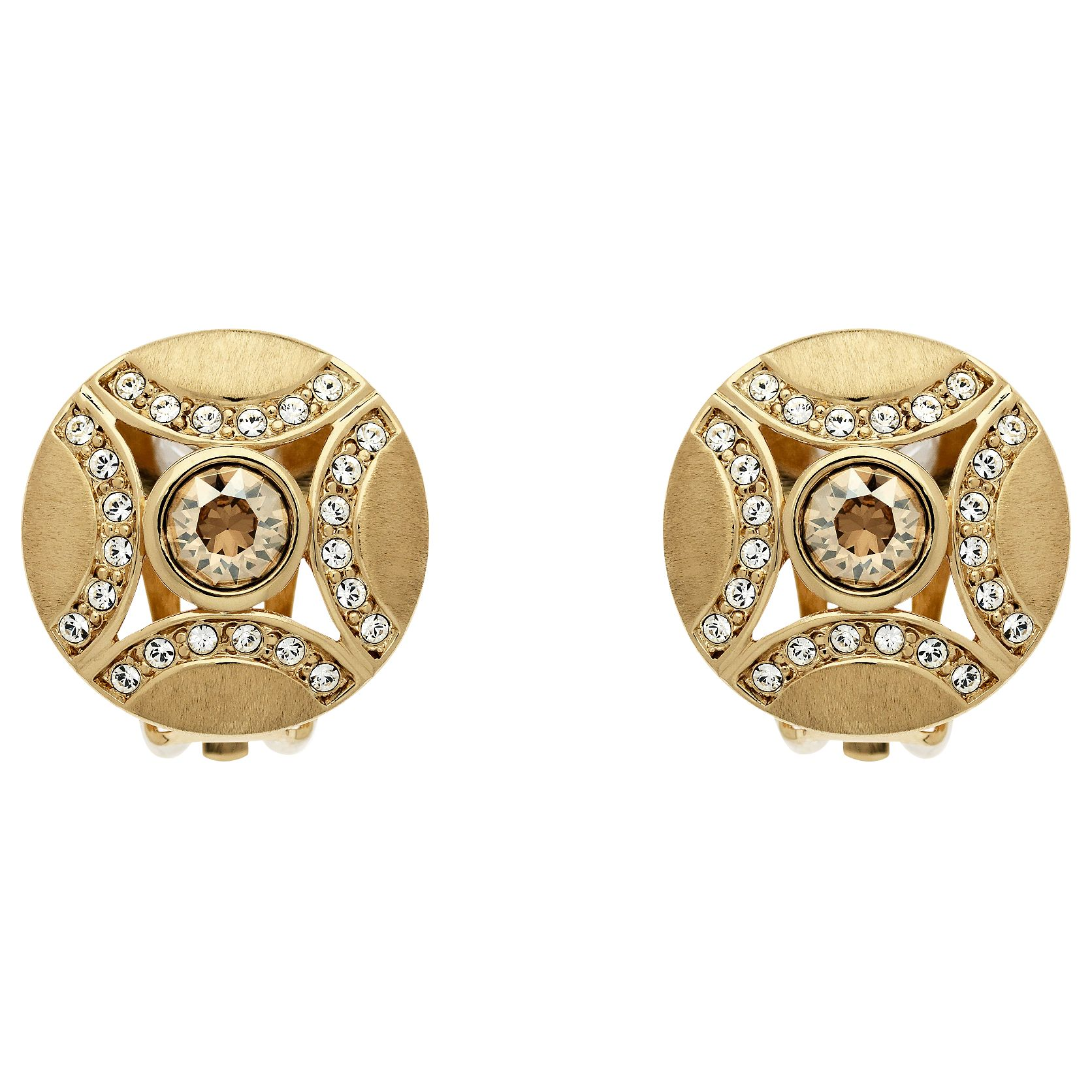Finesse Finesse Swarovski Disc Clip On Earrings