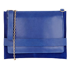 Buy Oasis Leather Cross Body Clutch Bag, Cobalt Blue Online at johnlewis.com