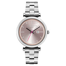 Buy Ted Baker TE10031521 Women's Ava Date Bracelet Strap Watch, Silver/Pink Online at johnlewis.com