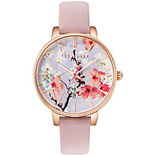 Buy Ted Baker TE10031544 Women's Katie Oriental Floral Date Leather Strap Watch, Rose/Multi Online at johnlewis.com