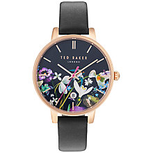 Buy Ted Baker TE10031552 Women's Katie Enchantment Floral Date Leather Strap Watch, Black/Multi Online at johnlewis.com