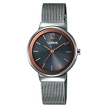 Buy Lorus RG251LX9 Women's Mesh Bracelet Strap Watch, Silver/Charcoal Online at johnlewis.com